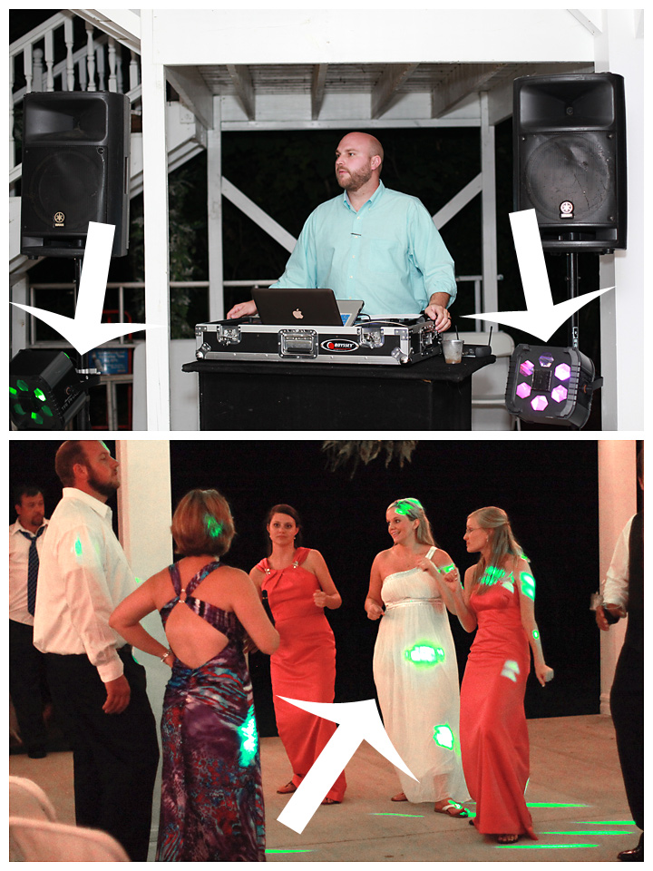 How lights from the DJ will impact the reception photos.